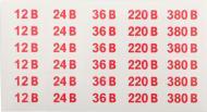 Наклейка Позначення напруги 12/24/36/220/380 В 35х15 мм 30 шт.