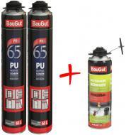 Пена монтажная BauGut PRO 870 мл 2 шт. + cмывка для пены BauGut 440 мл в подарок 1000 мл