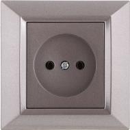 Розетка без заземления UP! (Underprice) Vesta серый металлик
