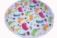 Пляжное круглое полотенце коврик с бахромой Colorful Home 150 см микрофибра Печеньки макаронс (10057