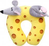 Подушка декоративна під шию Сир з мишкою 30x30 см сірий із жовтим