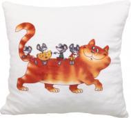 Подушка декоративна Кіт та миші на спині 28x28 см бежевий СЕЛЕНА