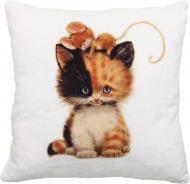 Подушка декоративна Кіт та мишеня на голові 28x28 см бежевий СЕЛЕНА