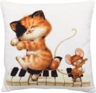 Подушка декоративна Кошеня та мишеня на роялі 28x28 см бежевий СЕЛЕНА