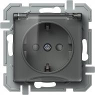 Розетка із заземленням TEM Logiq зі шторками з кришкою антрацит VQ11ATXO-U