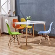 Комплект кухонный: Стол обеденный Нури SDM  прямоугольный 120х80 см, белый + 4 Разноцветных стула Та