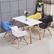 Комплект кухонный: Стол обеденный Нури SDM  прямоугольный 120х80 см, белый + 4 Разноцветных кресла Т