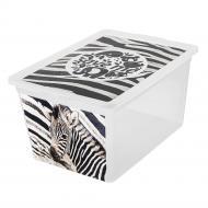 """Ящик для зберігання BranQ 7330.1 X-BOX з малюнком """" зебра"""" 30 л"""