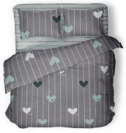 Комплект постільної білизни Green hearts 1,5 сірий із зеленим La Nuit