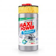 Засіб для ручного миття посуду Maxi Power Платинум з губкою 1л
