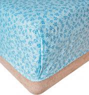 Простынь на резинке Голубые листья 180x200 см голубой Прованс