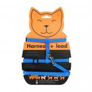 Шлея Dog Extreme из нейлона для котов з повідцем 1х110 см блакитна
