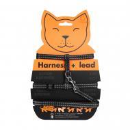 Шлея Dog Extreme з нейлону для котів з повідцем 1х110см чорна