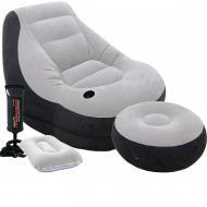 Надувное кресло Intex 68564-2, 130 х 99 х 76 см, с ручным насосом и подушкой, пуфик 64 х 28 см
