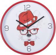Годинник настінний скло, пластик, червоний, циферблат білий, 25,5x4,3 см EG6910B-YP233