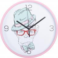 Годинник настінний пластик, стекло, рожевий, циферблат білий, 25,5x4,3 см