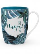Чашка именная Флора 016-Be happy! Be Happy