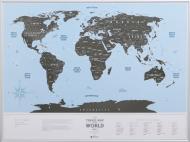 Скретч-карта Travel Map Silver World 60х80 см (рама)