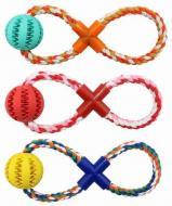 Іграшка для собак Zoomax Грейфер Канат-вісімка з м'ячем масажним 5x30 см ER121