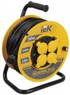 Подовжувач на котушці IEK Industrial Plus із заземленням 4 гн. чорний/жовтий 50 м WKP15-16-04-50-44
