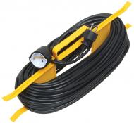 Подовжувач + мотовило IEK із заземленням 1 гн. чорний/жовтий 30 м WKF14-10-01-30