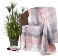 Плед Soft Impression Karo 130x170 см рожевий із сірим Billerbeck