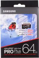 Карта пам'яті Samsung microSDXC 64 ГБ UHS-I Class 3 (U3) PRO Plus (MB-MD64DA/RU)