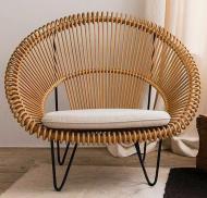 Лаунж-кресло CRUZO Мун из натурального ротанга Натуральный (sm1092)