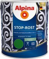 Эмаль алкидно-уретановая Alpina Stop-Rost RAL 8011 орехово-коричневый шелковистый мат 2.5л