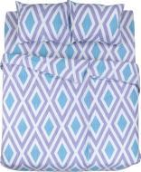 Комплект постільної білизни Ромби 2,0 блакитно-біло-фіолетовий UP! (Underprice)