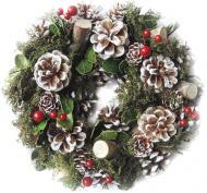 Вінок новорічний з вереском, шишками і ягодами 709318558-25 d250 мм