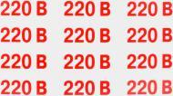 Наклейка Позначення напруги 220 В 60х25 мм 12 шт.