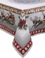 Скатертина гобеленова новорічна з люрексом 140x140 см різнокольоровий