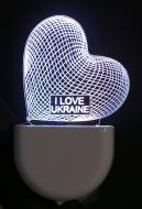 Нічник Aukes I love Ukraine 3D LED RGB 0.5 Вт білий