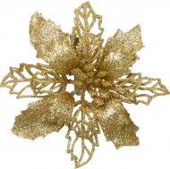 Декорація новорічна Квітка пуансетія 15 см золота