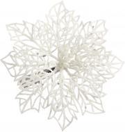 Набір новорічного декору Пуансетія ажурна 11 см 3 шт. срібна