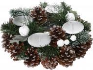 Композиція новорічна Вінок-підсвічник із шишками 23 см W01-1189/5
