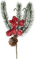 Гілочка декоративна Пучок хвойний з ягодами засніжений 20 см RS1H733-20F