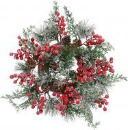 Вінок новорічний прикрашений хвоєю та ягодами d250 мм RS1H774-3