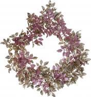 Вінок новорічний з рожево-золотим листям d300 мм 13S3007-53