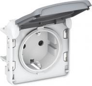 Розетка із заземленням Legrand Plexo 2К+З з кришкою сірий 69571