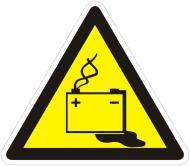 Наклейка Обережно! Акумуляторні батареї 130 мм