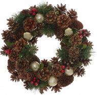 Вінок новорічний декорований шишками і ягодами d340 мм E5153035A-7G