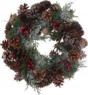 Вінок новорічний декорований шишками і ягодами d340 мм E5153076A-731