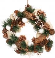 Вінок новорічний декорований шишками, мішковиною і ягодами d330 мм 700516001-LDS
