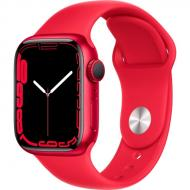 Смарт-часы Apple Watch Series 7 GPS 41mm (PRODUCT) red AluminiumCasewith(PRODUCT)REDSportBand (MKN23UL/A)