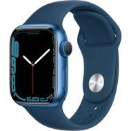 Смарт-часы Apple Watch Series 7 GPS 41mm blue AluminiumCasewithAbyssBlueSportBand (MKN13UL/A)