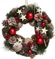 Вінок новорічний з шишками, ягідками, кулями та зірками d330 мм 7005152308