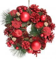 Вінок новорічний з шишками, кулями, ягодами d250 мм 7005152253