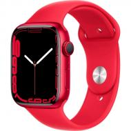 Смарт-часы Apple Watch Series 7 GPS 45mm (PRODUCT) red AluminiumCasewith(PRODUCT)REDSportBand (MKN93UL/A)
